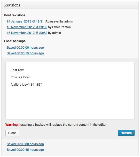 Automatisk Gemning i WordPress 3.6