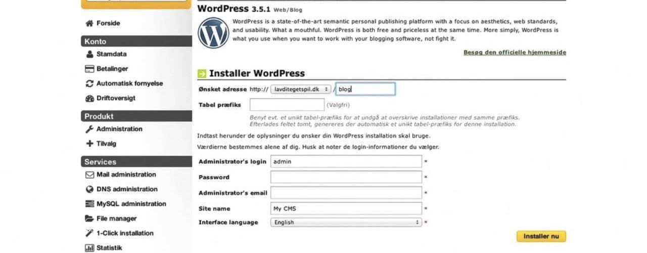 a6a9c75d5c6c Sådan Installerer Du WordPress På UnoEuro Webhosting